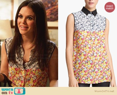 Yigal Azrouel Floral Ikat Georgette Blouse worn by Rachel Bilson on Hart of Dixie