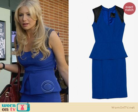 Yigal Azrouel Leather Edged Peplum Dress worn by Ari Graynor on Bad Taacher