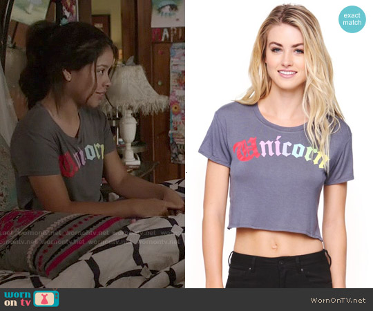 Young Romantics Unicorn Rainbow Cropped T-shirt worn by Cierra Ramirez on The Fosters