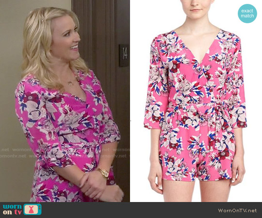 Yumi Kim Liz Romper in Pink Blossom worn by Aimee Carrero on Young & Hungry