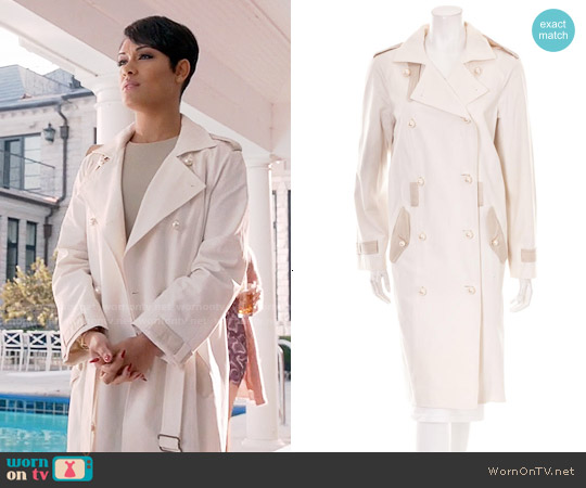 Yves Saint Laurent Pearl Button Trench Coat worn by Grace Gealey on Empire