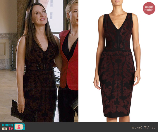 Zac Posen Baroque Jacquard Seamed Dress worn by Madeleine Stowe on Revenge