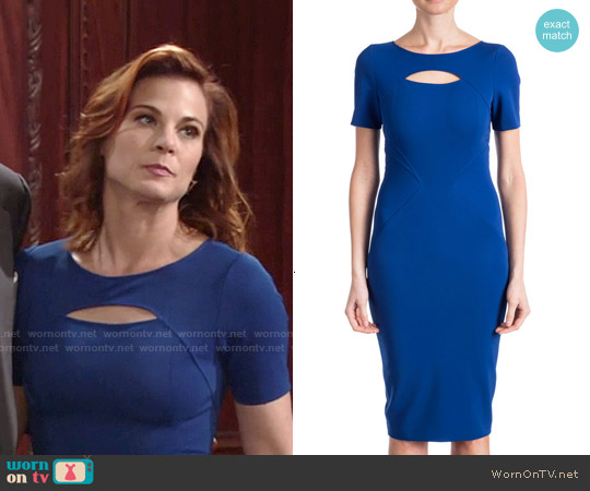 ZAC Zac Posen Brenda Short-Sleeve Cutout-Top Sheath Dress worn by Gina Tognoni on The Young & the Restless