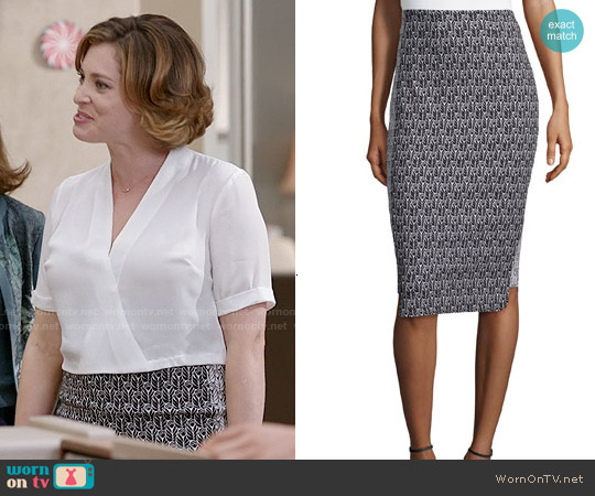 Zac Posen 'Pippa' Pencil Printed Skirt worn by Rachel Bloom on Crazy Ex-Girlfriend