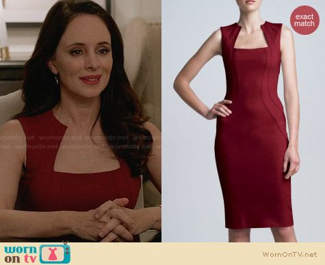 Zac Posen Square Neck Bonded Jersey Dress worn by Madeleine Stowe on Revenge