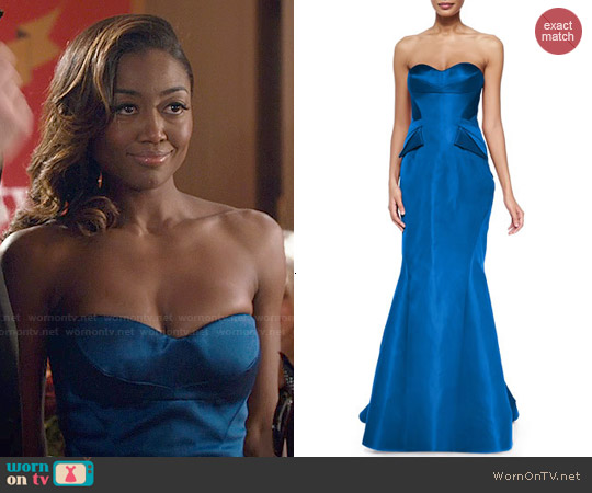 Zac Posen Strapless Split-Peplum Back-Pleat Gown worn by Patina Miller on Madam Secretary