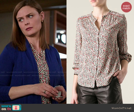 Zadig & Voltaire Heart Print Blouse worn by Emily Deschanel on Bones