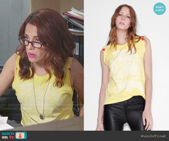 Zadig + Voltaire Typsy Pigment Tank Top worn by Alanna Ubach on GG2D
