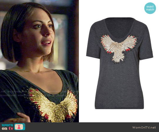 Zadig & Voltaire 'Wanda' Eagle T-shirt worn by Willa Holland on Arrow
