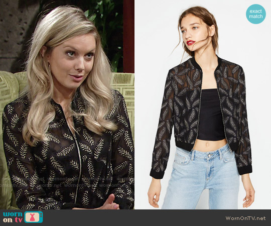 Zara Bomber with Sheer Leaf Embroidery worn by Melissa Ordway on The Young & the Restless