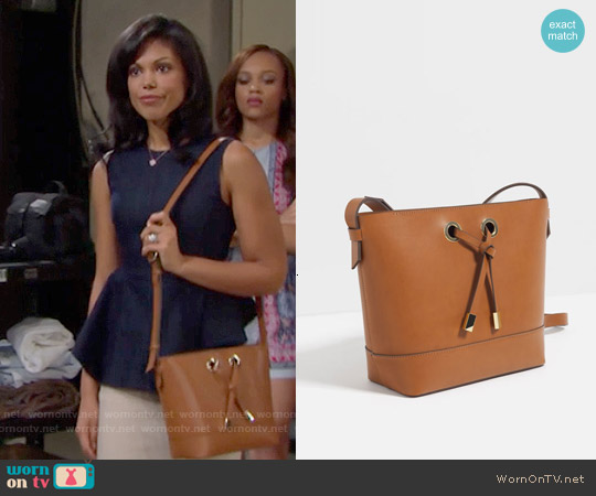 Zara Crossbody Bag with Gold Hardware worn by Maya Avant on The Bold & the Beautiful