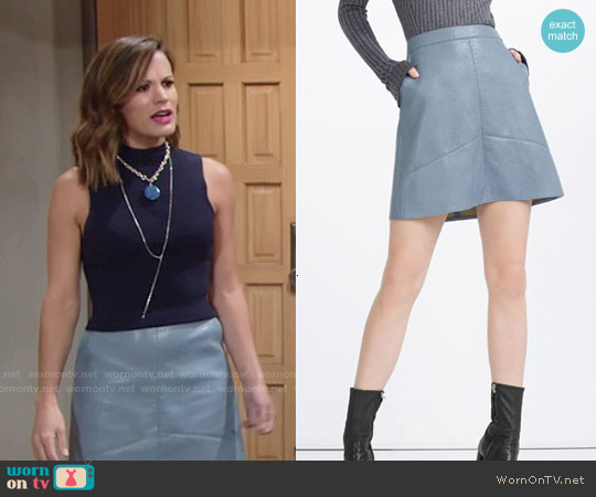Zara A-Line Leather Skirt worn by Melissa Claire Egan on The Young & the Restless