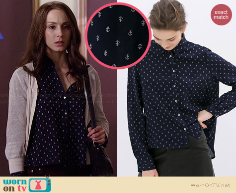 Zara Anchor Print Shirt worn by Troian Bellisario on PLL