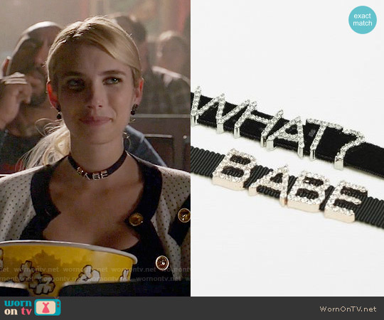 Zara Babe Choker worn by Emma Roberts on Scream Queens