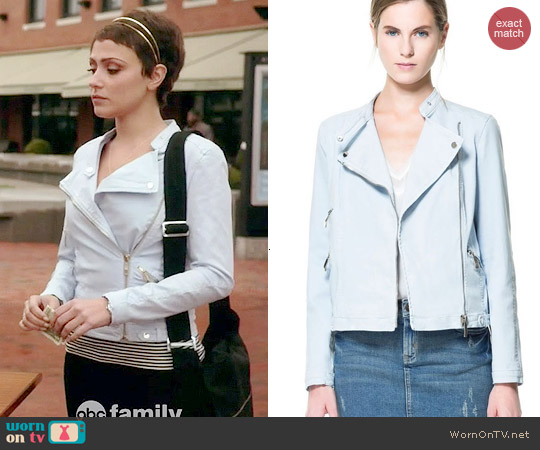 Zara Baby Blue Cotton Biker Jacket worn by Italia Ricci on Chasing Life