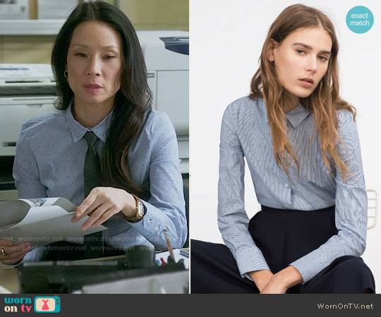 Zara Basic Poplin Shirt worn by Lucy Liu on Elementary
