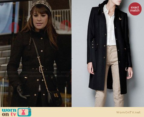 Zara Belted Coat worn by Lea Michele on Glee