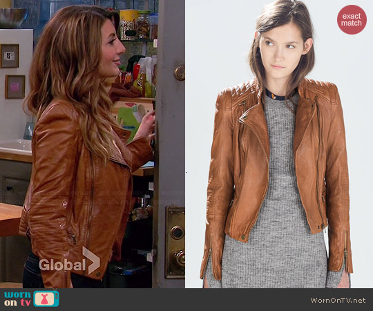 Zara Biker Jacket with Zips worn by Nasim Pedrad on Mulaney