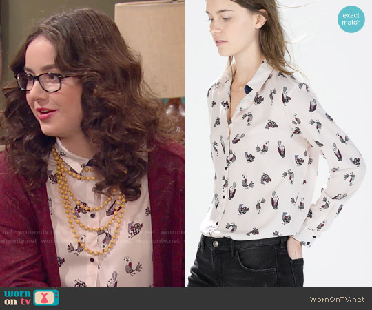 Zara Bird Print Shirt worn by Sarah Gilman on IDDI