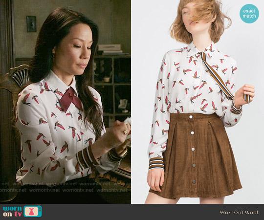 Zara Bird Print Shirt worn by Lucy Liu on Elementary