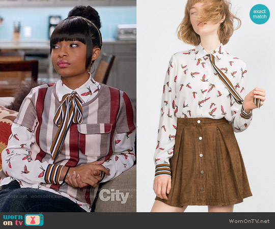 Zara Bird Print Shirt worn by Yara Shahidi on Blackish