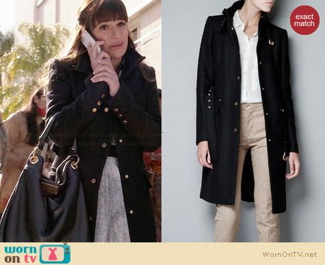Zara Black Coat worn by Lea Michele on Glee