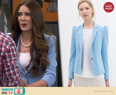 Zara Blazer with Strong Shoulders worn by Mallory Jansen on Young & Hungry