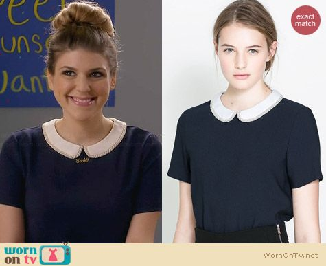 Zara Blouse with Combination Collar worn by Molly Tarlov on Awkward