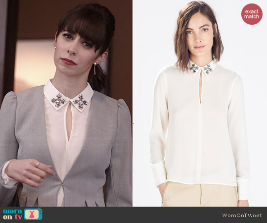 Zara Blouse with Jewel Applique worn by Cristin Milioti on A to Z