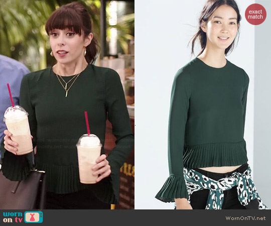 Zara Bottle Green Pleated Top worn by Cristin Milioti on A to Z