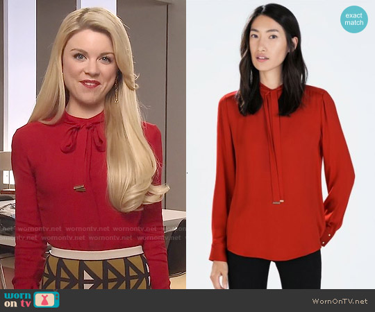 Zara Red Bowed Blouse worn by Bailey Buntain on Faking It