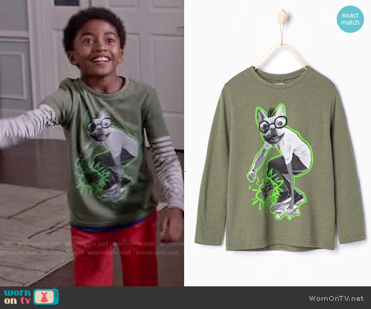 Zara Boys' Skater Dog T-shirt worn by Miles Brown on Blackish