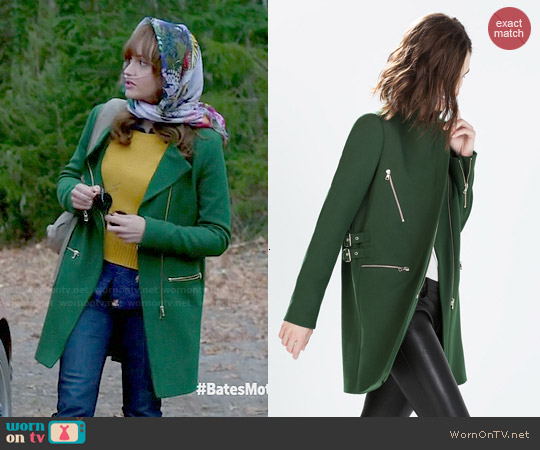 Zara Zip Buckle Coat worn by Olivia Cooke on Bates Motel