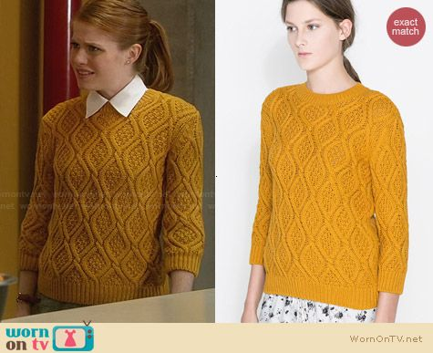 Zara Cable Knit Sweater in Yellow worn by Genevieve Angelson on House of Lies