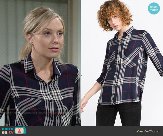Zara Check  Shirt in Navy Blue worn by Melissa Ordway on The Young & the Restless