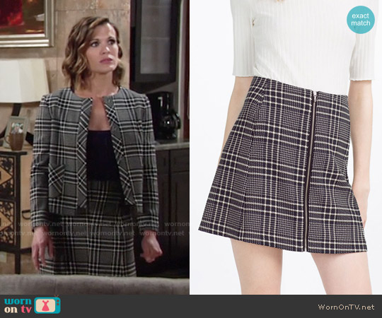 Zara Check Skirt worn by Chelsea Lawson on The Young & the Restless