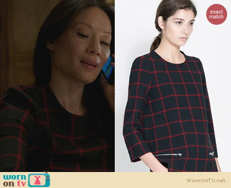 Zara Checked Top with Zips worn by Lucy Liu on Elementary