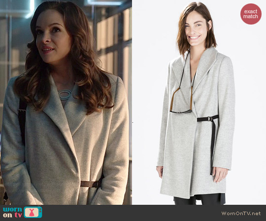 Zara Coat with Wide Collar worn by Danielle Panabaker on Arrow