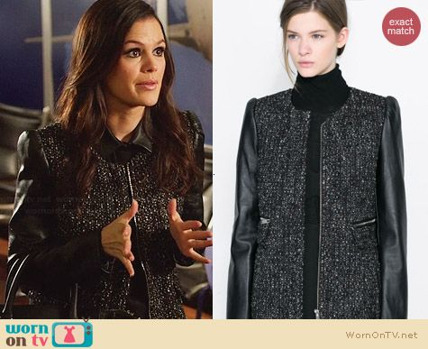 Zara Coat with Leather Sleeves worn by Rachel Bilson on Hart of Dixie