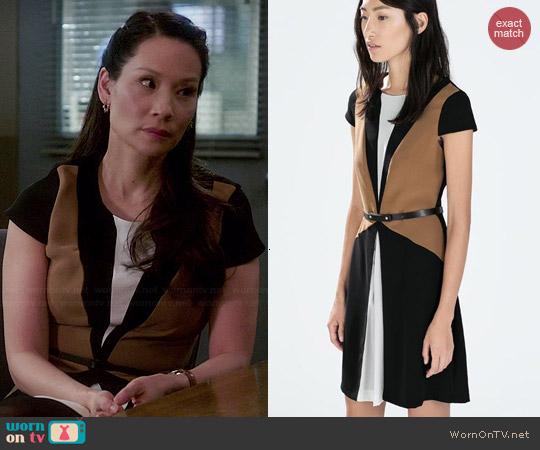 Zara Colorblock Dress with Belt worn by Lucy Liu on Elementary