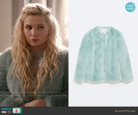 Zara Colored Fur Coat worn by Chanel #5 on Scream Queens