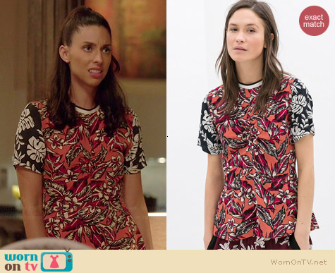 Zara Combination Printed Top worn by Jade Catta Preta on Manhattan Love Story