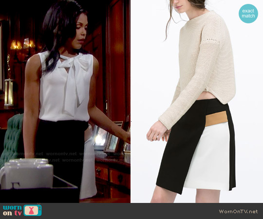 Zara Contrast Detail Wrap Skirt worn by Karla Mosley on The Bold & the Beautiful