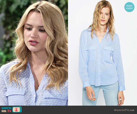 Zara Contrasting Plumetis Shirt worn by Hunter King on The Young & the Restless