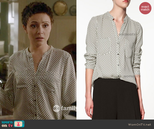 Zara Contrasting Polka Dot Blouse worn by Italia Ricci on Chasing Life