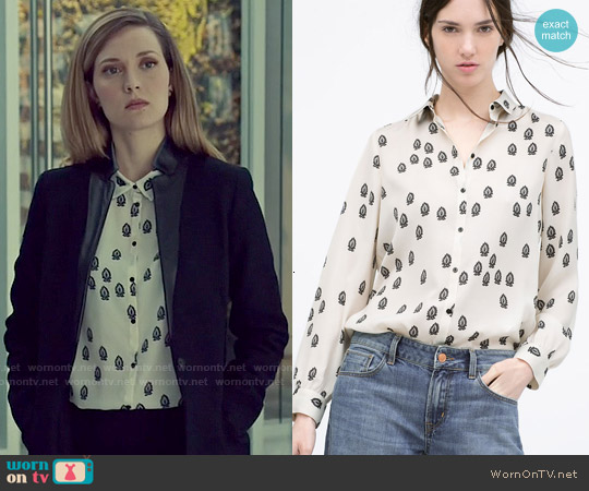 Zara Contrasting Print Blouse worn by Evelyne Brochu on Orphan Black