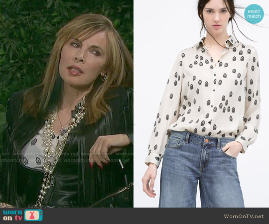 Zara Contrasting Printed Blouse worn by Lauren Koslow on Days of our Lives