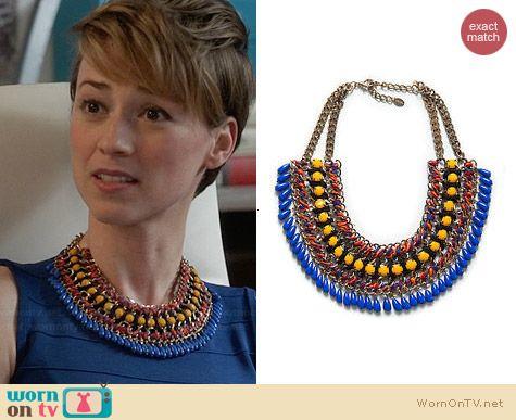 Zara Cord Chain Necklace worn by Karine Vanasse on Revenge
