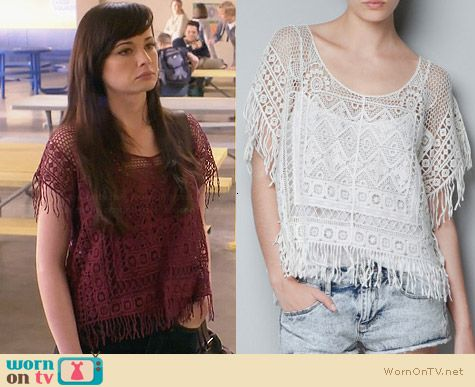Zara Crochet Top with Fringes worn by Ashley Rickards on Awkward