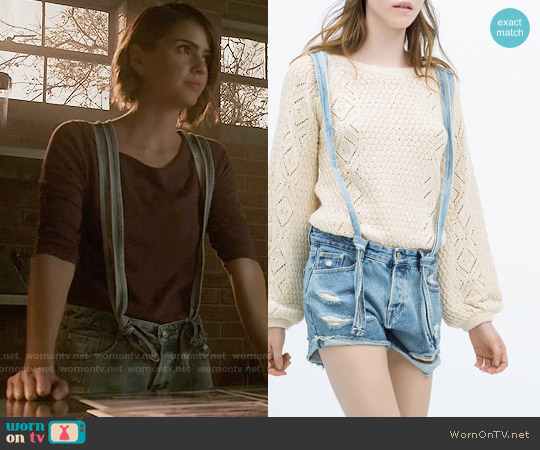 Zara Denim Dungaree Shorts worn by Shelley Hennig on Teen Wolf